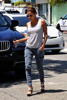 Eva Longoria. grey cargo pants, tank & heels.