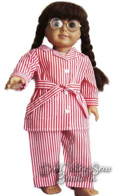 Red White Striped Pajamas works for American Girl Molly Doll Clothes