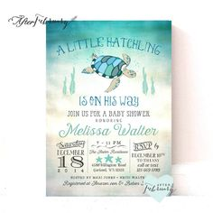 Sea Turtle Baby Shower Invitation // Under the by AfterFebruary