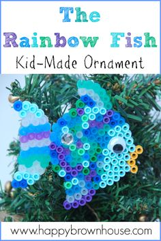 Fish Perler Bead Christmas Ornament The Rainbow Fish inspired Kid-made ornament. Quick and Easy for kids to make as gifts for friends.The Rainbow Fish inspired Kid-made ornament. Quick and Easy for kids to make as gifts for friends. Christmas Crafts For Kids To Make, Christmas Activities, Christmas Art, Diy For Kids, Kindergarten Christmas, Hama Beads, Fuse Beads, Fish Ornaments, Beaded Christmas Ornaments