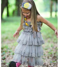 Gray Flower Girl Dress- 1st Birthday Dress-Flower Girl Dresses-Dress- Lace dress- Rustic Girls Dress- Baby Lace Dress- Junior Bridesmaid