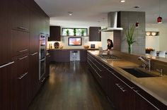 Kitchen microwave cabinet - modern - kitchen - san francisco - by Camber Construction Cabinets And Countertops, Concrete Countertops, Wood Cabinets, Dark Cabinets, Espresso Cabinets, Modern Cabinets, Stylish Kitchen, Modern Kitchen Design, Nice Kitchen