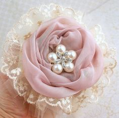 Bridesmaids Brooch Bouquet in Ivory, Dusty Rose and Champagne with Chiffon, Lace and Tulle via Etsy Flores Shabby Chic, Shabby Chic Flowers, Lace Flowers, Flowers In Hair, Fabric Roses, Fabric Ribbon, Fabric Flower Tutorial, Flower Brooch, Brooch Bouquets