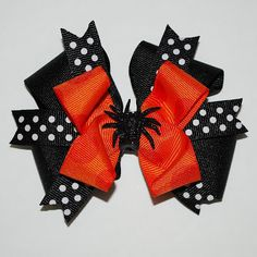 Halloween Spider Layered Boutique Hair Bow $7.50 from bytinadesign #halloween #holidays #hair #bow #kids #fall