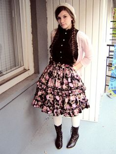 Casual Lolita - love the skirt.- could totally do this outfit but with a purple cardigan.