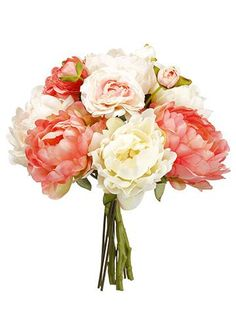 Save money on your DIY wedding arrangements with artificial silk flower bouquets at Afloral.com. Welcome spring with gorgeous coral peonies and blush ranunculus.