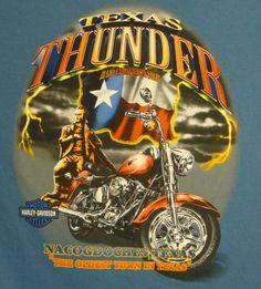 Harley Davidson Nacogdoches T-shirt XL Texas Thunder Oldest Town Bike Flag Blue #HarleyDavidson #GraphicTee $16.99