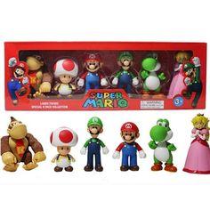 6pcs/lot Super Mario Bros waluigi green dragon figures set with box 2016 New super mario series 3 bros action figurines party