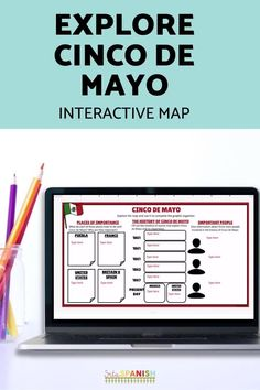 These low-prep, post and go activities are a great way to celebrate Cinco de Mayo with your Spanish students! Students explore a digital interactive Google Map and complete a graphic organizer on Google Slides or comprehension questions for a great activity to explore the history of Cinco de Mayo in your novice middle school and high school Spanish class. High School Activities, Spanish Activities, Class Activities, Spanish Lesson Plans, Spanish Lessons, Spanish 1, Middle School Spanish, Thing 1, Spanish Classroom
