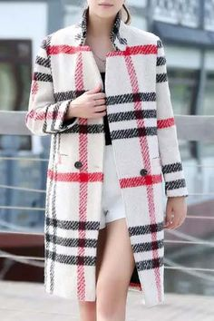 Stand Neck Plaid Pockets Wool Coat