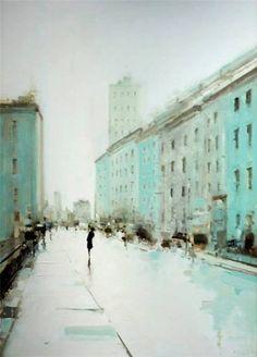 Geoffrey Johnson - City Buildings Green, 2013. Oil on wood panel