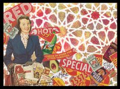 RED HOT SPECIAL Shelby Pizzarro. Conventional Collage using Artistcellar Stencils, Plaid & DecoArt Products, Ephemera. #TAE17 Twitter Art Exhibit