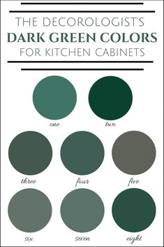 The best dark green colors for kitchen cabinets! Find exact paint color names here. The 2019 kitchen color of the year is DARK GREEN. The Decorologist shows you how to use it and shares her favorite dark green colors for kitchen cabinets. Dark Green Kitchen, Green Kitchen Cabinets, Kitchen Cabinet Colors, Painting Kitchen Cabinets, Kitchen Colors, Kitchen Decor, Decorating Kitchen, Dark Cabinets, Green Kitchen Paint