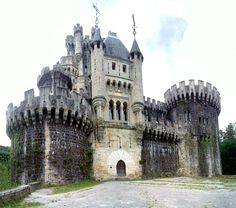 Butrón castle is a castle located in Gatika, in the province of Biscay, in northern Spain.  It dates originally from the Middle Ages, although it owes its present appearance to an almost complete rebuilding begun by Francisco de Cubas (also known as Marqués de Cubas) in 1878.  The castle has a fairy-tale look about it inspired by Bavarian castle models.