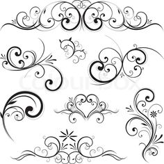 Stock vector of 'Swirling flourishes decorative floral elements'