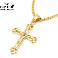 60cm Gold Jesus Christ Cross Pendents Long Necklace For Men And Women Hip Hop Christian Jewelry