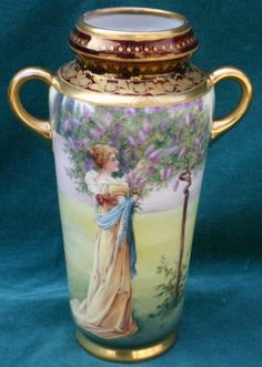 Vienna Flieder Hand Painted on Porcelain 2 Handle Vase Magnificent | eBay