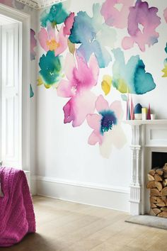 Wallpaper Direct, Wallpaper Panels, Wallpaper Designs, Wallpaper For House, Wallpaper Murals, Bedroom Wallpaper, Bluebellgray, Big Girl Rooms, Art Mural