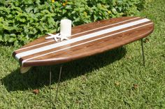 Surfboard Coffee Table with Hairpin Legs by OldBleu on Etsy, $335.00