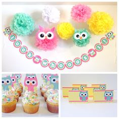 Custom Owl Happy Birthday Party-In-A-Box owl party owl by JaeMakes
