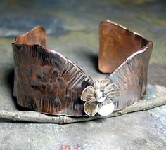 Hammered Copper Cuff - Flower of the Forest