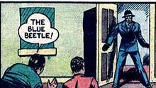 The first appearance of the Blue Beetle, Mystery Men Comics #1 (1939). Art by Charles Nicholas. Blue Beetle later went on to get his own comic and is still known as a minor hero today.