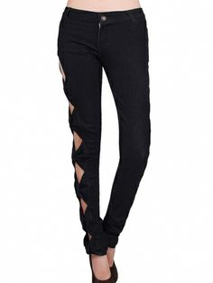 Popular Hollow Slim Bowknot Pencil Pants Women's Sexy Pants on buytrends.com