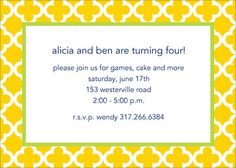 Sunflower Bristol Tile Invitations
