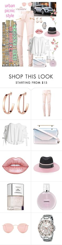 """""""picnic in the Big Apple😎"""" by queenchelleisboomkoo ❤ liked on Polyvore featuring Jenny Bird, Balmain, Caroline Constas, M2Malletier, Lime Crime, Maison Michel, Chanel, Ray-Ban and Vince Camuto"""