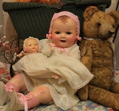"""BIG 24"""" Composition Cloth Bent Legs OLD Antique Baby Doll IN Vintage Clothing"""