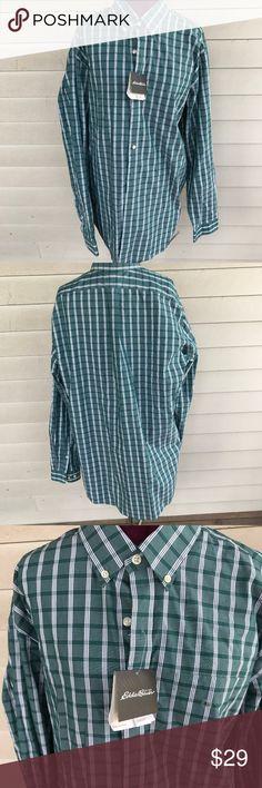 90ac41639a2b Eddie Bauer Men s Green White Plaid Dress Shirt Eddie Bauer Men s Green  White Plaid Dress Shirt