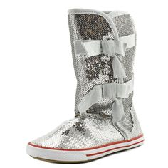 "Volatile Girl's Shimmer Sneaker Boots (3 Youth, Silver). The style name is Shimmer. The style number is SHIMMER-SLV. Brand Color: Silver (Main Color: Silver). Material: Sequin. Measurements: Shaft measures 9"", Circumference measures 11"" and 0.75"" heel. Width: M (Y)."
