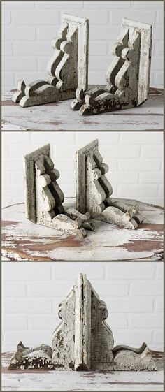 Pair of Unusual Architectural Corbels in Chippy Old White Paint from Zinnia Cottage.