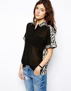 ASOS | ASOS Shirt with Contrast Panels and Camoflage Jacquard at ASOS ita just wow