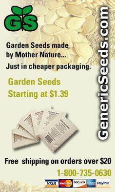 Generic Seeds- Garden Seeds Starting at $1.39