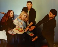 """you darkle, you tinct """"Well, there goes the """"apple juice"""" - what a TRAGEDY, right?  Jensen and Misha really seemed to love this photo op inspired by JibCon and were hella amused by it.  I was worried they would have no idea what we were talking about but apparently they totally knew what we were going for. Hugs and smiles all around after it was all over and it was probably the highlight of our con experience!"""