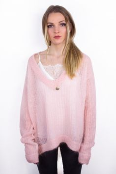 Pull loose maille rose