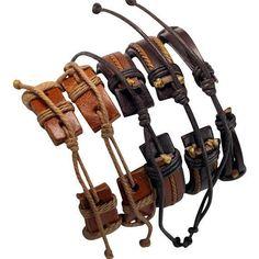5 Piece Handmade Leather Bracelet Set Men's by BraceletStreetUSA
