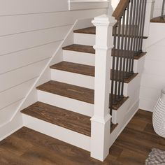 Painted Staircases, Staircase Railings, Staircase Design, Stairways, Hardwood Stair Treads, Stair Risers, Oak Stairs, Basement Stairs, Basement Makeover