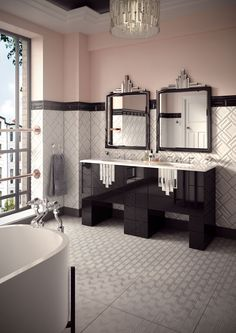 We recently launched 5 exquisite vanity units, designed exclusively for us by Justin Van Breda. The Poirot is described by Van Breda as Art Deco Bathroom, Bathroom Trends, 1930s Bathroom, Bathroom Ideas, Bathroom Goals, Bathroom Designs, Silver Bathroom, Art Deco Furniture, Bathroom Furniture