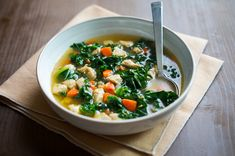 Healthy and wonderful Chicken Kale Soup Recipe via ChickenRecipeBox.com