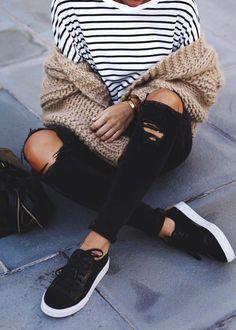 street style. black + white + beige. stripes.