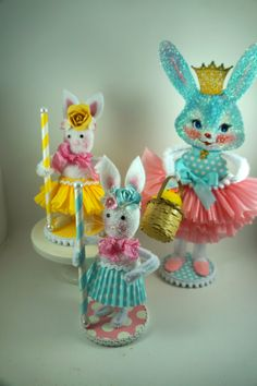 Retro Easter Bunny Decoration by SparkleLovesWhimsey on Etsy