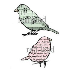 Bird Rubber Stamps - Lori & Linda Write Songs - 2 cling mount rubber stamps