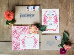 Brilliantly Colored DIY Floral Project for a Gorgeous Pennsylvania Wedding from Lauren Fair photography - wedding invitation
