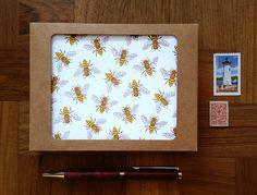 Boxed Set of 8 - Honey Bees, Letterpress Cards, Blank Inside