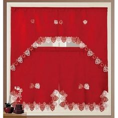 Complete the look of your kitchen with this kitchen curtain set. Brighten up the room with this embroidered scalloped eyelet kitchen set. Includes 3 pieces, 2 tier and 1 top valance. Gingham Curtains, Tier Curtains, Cafe Curtains, Colorful Curtains, Hanging Curtains, Rustic Country Kitchens, Country Kitchen Designs, Kitchen Curtain Sets, Kitchen Valances