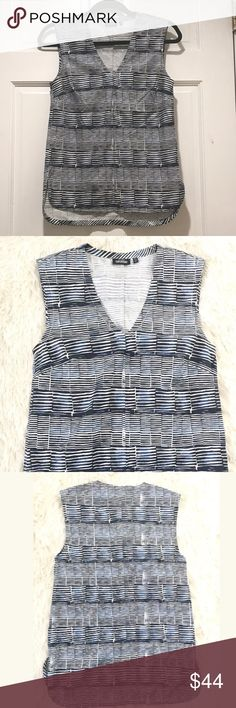 Kate Spade Saturday Sleeveless Top Kate Spade Saturday Sleeveless cotton top in abstract navy and white stripes, slight v neck and step hem (longer in back), 100% cotton, worn and washed once, EUC! Size XS fits 0-4/6. kate spade Tops Blouses