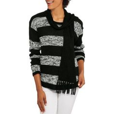 No Boundaries Juniors' Essential Crewneck Sweater and Scarf 2Fer, Size: Small, Multicolor