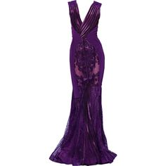 Satinee's collection - Basil Soda ❤ liked on Polyvore featuring dresses, gowns, long dresses, vestidos, purple, purple gown, purple ball gowns, long purple dress, purple evening gowns and purple dress